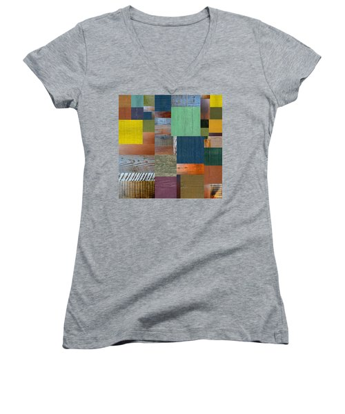Women's V-Neck T-Shirt (Junior Cut) featuring the digital art Wood With Teal And Yellow by Michelle Calkins