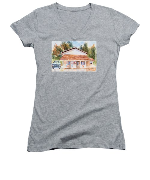 Woodcock Insurance In Watercolor  W406 Women's V-Neck (Athletic Fit)