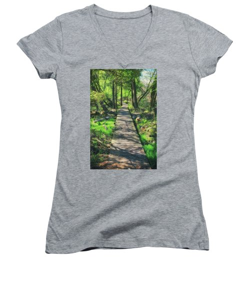 Wooded Path - Spring At Retzer Nature Center Women's V-Neck T-Shirt (Junior Cut) by Jennifer Rondinelli Reilly - Fine Art Photography