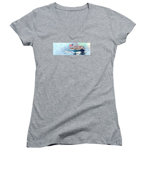 Women's V-Neck T-Shirt (Junior Cut) featuring the painting Wooden Boat Blues by LeAnne Sowa