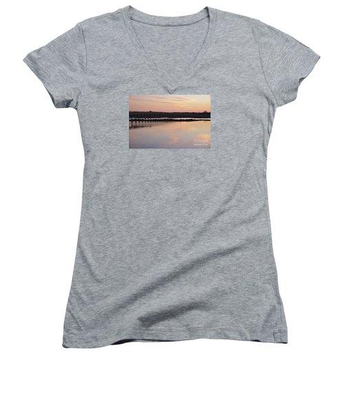 Wooden Bridge And Twilight Women's V-Neck T-Shirt (Junior Cut) by Angelo DeVal