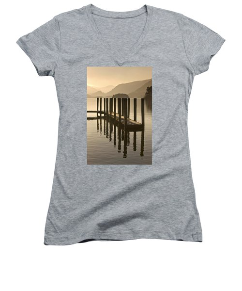 Wooden Dock In The Lake At Sunset Women's V-Neck T-Shirt