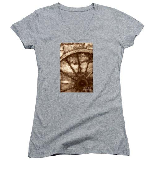 Wooden Wagon Wheel Women's V-Neck