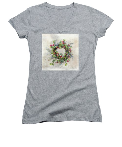 Woodland Berry Wreath Women's V-Neck (Athletic Fit)