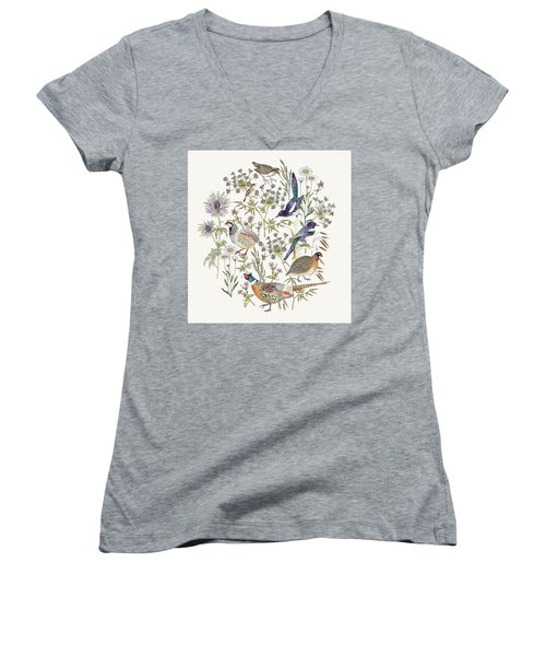 Woodland Edge Birds Placement Women's V-Neck T-Shirt (Junior Cut) by Jacqueline Colley