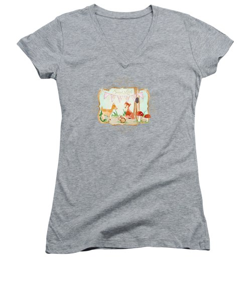 Women's V-Neck T-Shirt (Junior Cut) featuring the painting Woodland Fairytale - Banner Sweet Little Baby by Audrey Jeanne Roberts