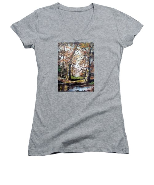 Women's V-Neck T-Shirt (Junior Cut) featuring the painting Woodland Pond  by Lee Piper