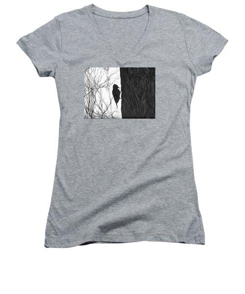 Women's V-Neck T-Shirt (Junior Cut) featuring the drawing Woodpecker by Anna  Duyunova