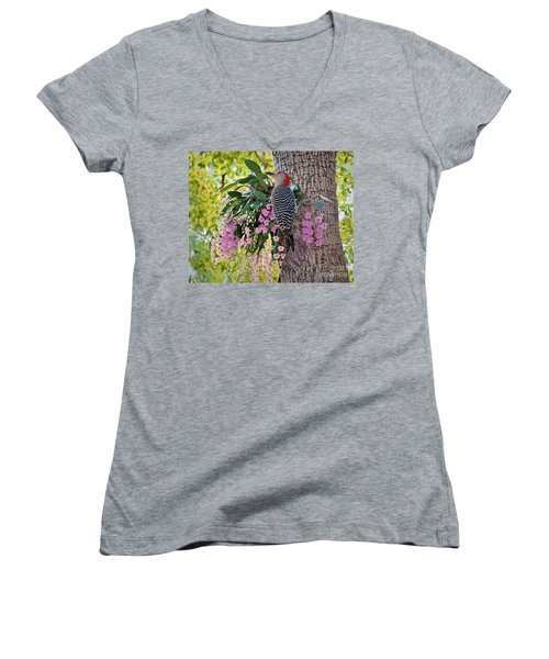 Woodpecker Heaven Women's V-Neck T-Shirt