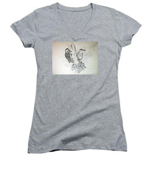 Woodpecker Women's V-Neck T-Shirt