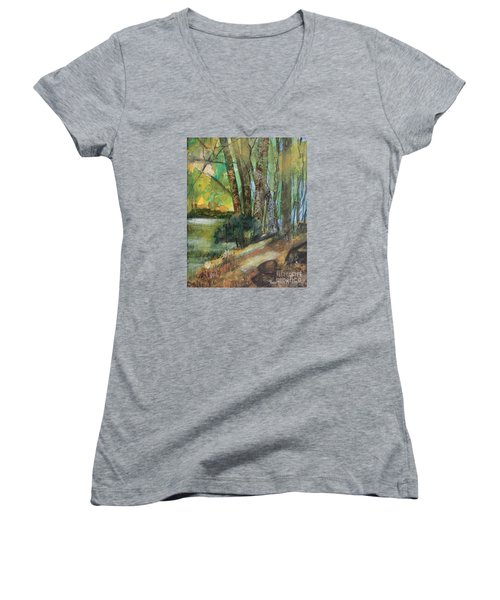 Woods In The Afternoon Women's V-Neck T-Shirt (Junior Cut) by Robin Maria Pedrero
