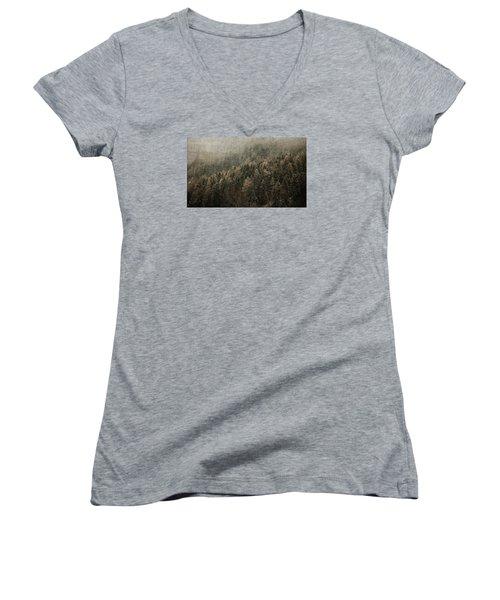 Woods In Winter Women's V-Neck T-Shirt (Junior Cut) by Vittorio Chiampan