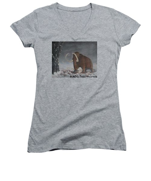 Wooly Mammoth......10,000 Years Ago Women's V-Neck (Athletic Fit)