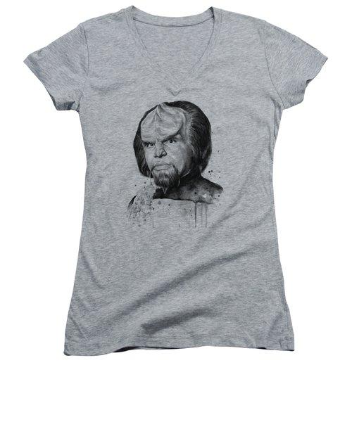 Worf Portrait Watercolor Star Trek Art Women's V-Neck T-Shirt (Junior Cut) by Olga Shvartsur