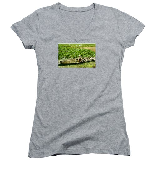 Women's V-Neck T-Shirt (Junior Cut) featuring the photograph Work Hard With Smile by Arik S Mintorogo