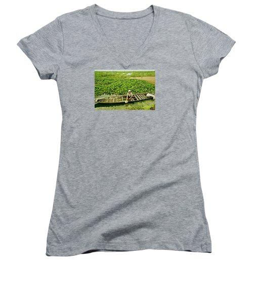 Work Hard With Smile Women's V-Neck T-Shirt
