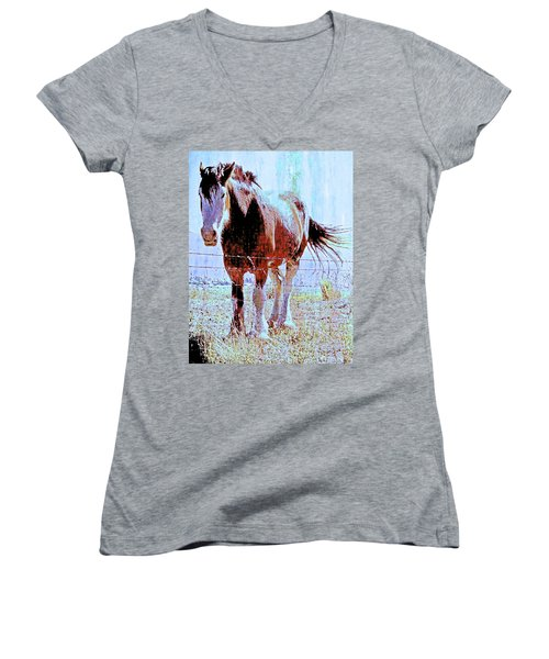Women's V-Neck T-Shirt (Junior Cut) featuring the photograph Workhorse by Cynthia Powell