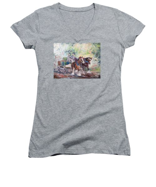 Working Clydesdale Pair, Victoria Breweries. Women's V-Neck