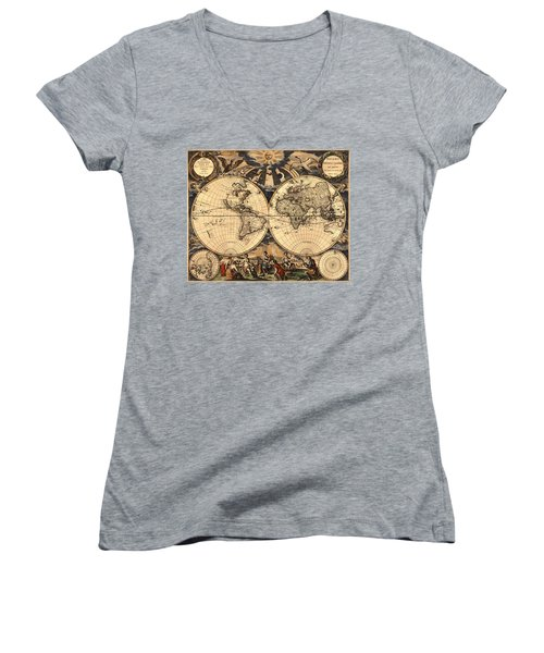 World Map 1666 Women's V-Neck T-Shirt (Junior Cut) by Andrew Fare