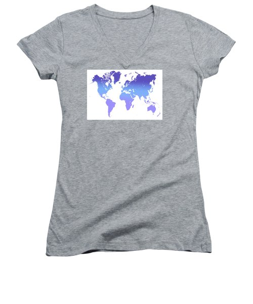 Women's V-Neck T-Shirt (Junior Cut) featuring the photograph World Map Abstract. Blue Purple by Jenny Rainbow