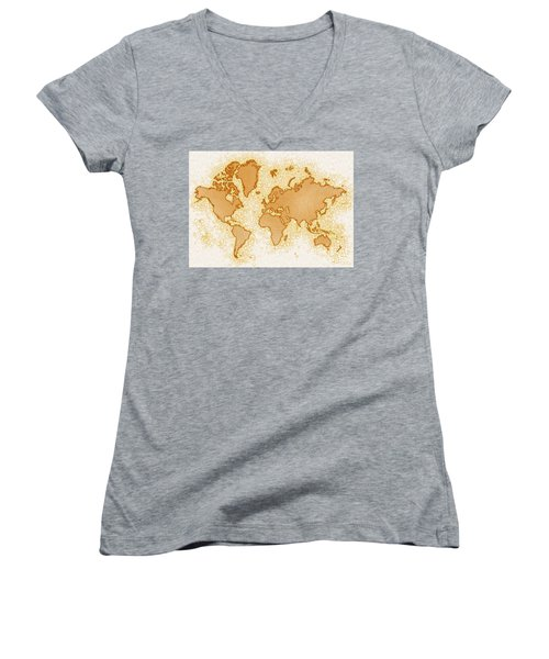 World Map Airy In Brown And White Women's V-Neck (Athletic Fit)