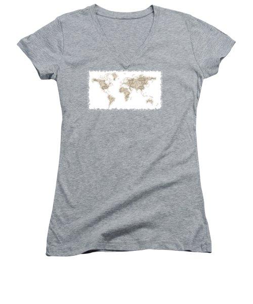 World Map Women's V-Neck T-Shirt (Junior Cut) by Anton Kalinichev