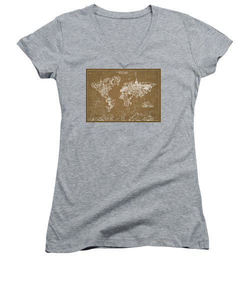 World Map Blueprint 4 Women's V-Neck T-Shirt (Junior Cut) by Bekim Art