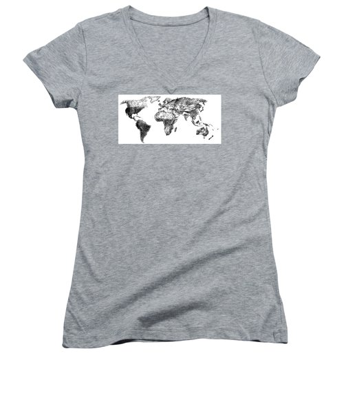 Women's V-Neck T-Shirt (Junior Cut) featuring the drawing World Map In Graphite by Heidi Kriel