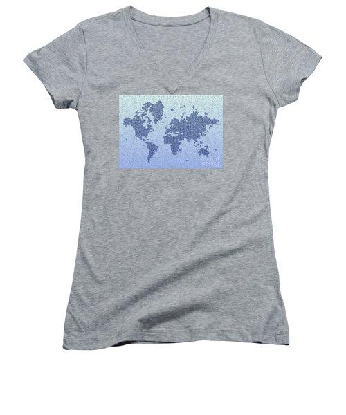 World Map Kotak In Blue Women's V-Neck T-Shirt