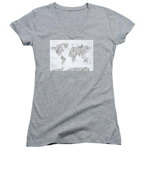 Women's V-Neck T-Shirt (Junior Cut) featuring the digital art World Map Music 10 by Bekim Art