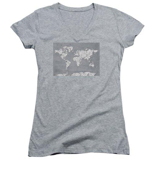 Women's V-Neck T-Shirt (Junior Cut) featuring the digital art World Map Music 11 by Bekim Art