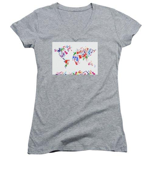 Women's V-Neck T-Shirt (Junior Cut) featuring the digital art World Map Music 3 by Bekim Art