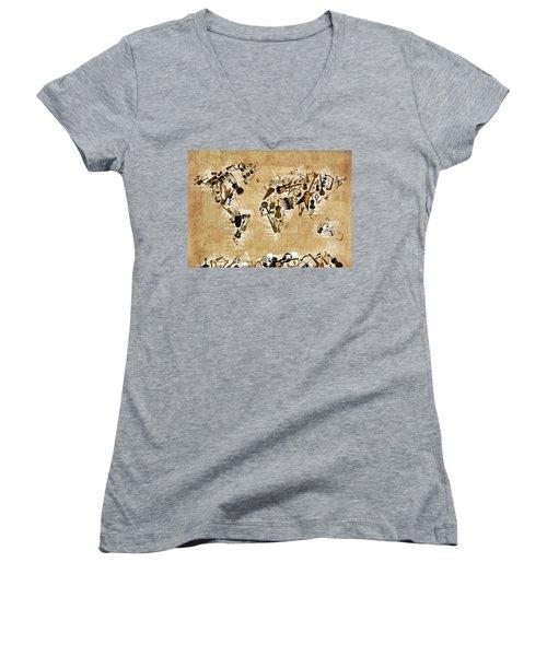 Women's V-Neck T-Shirt (Junior Cut) featuring the digital art World Map Music 4 by Bekim Art