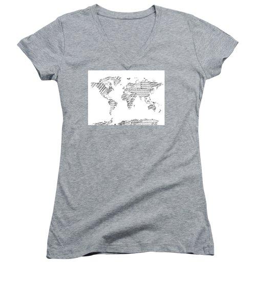 Women's V-Neck T-Shirt (Junior Cut) featuring the digital art World Map Music 8 by Bekim Art