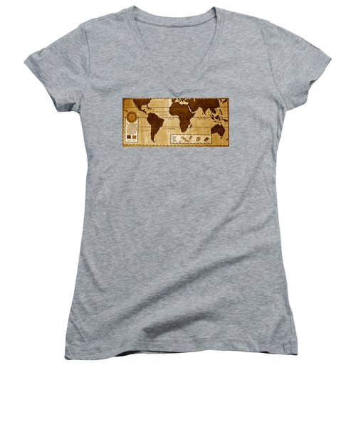 World Map Of Coffee Women's V-Neck T-Shirt