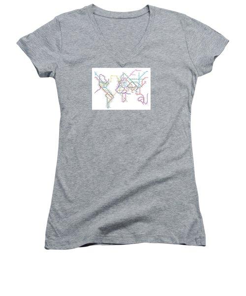 World Metro Tube Map Women's V-Neck T-Shirt (Junior Cut) by Michael Tompsett
