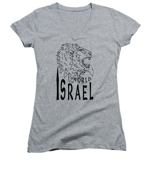 World Of Israel Women's V-Neck (Athletic Fit)