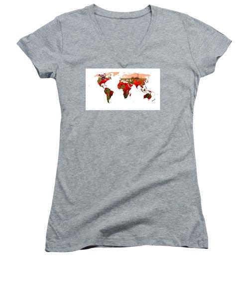 World Of Poppies Women's V-Neck