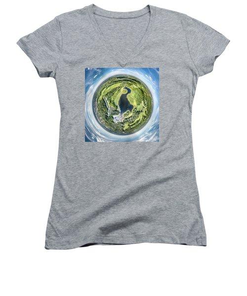 Women's V-Neck T-Shirt featuring the photograph World Of Whitnall Park by Randy Scherkenbach