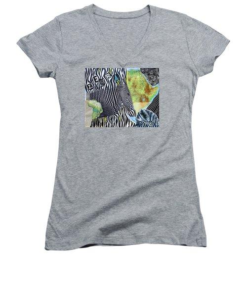 World Of Zebras Women's V-Neck T-Shirt
