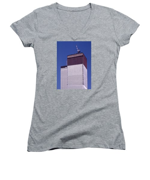 World Trade Center Under Construction Women's V-Neck (Athletic Fit)