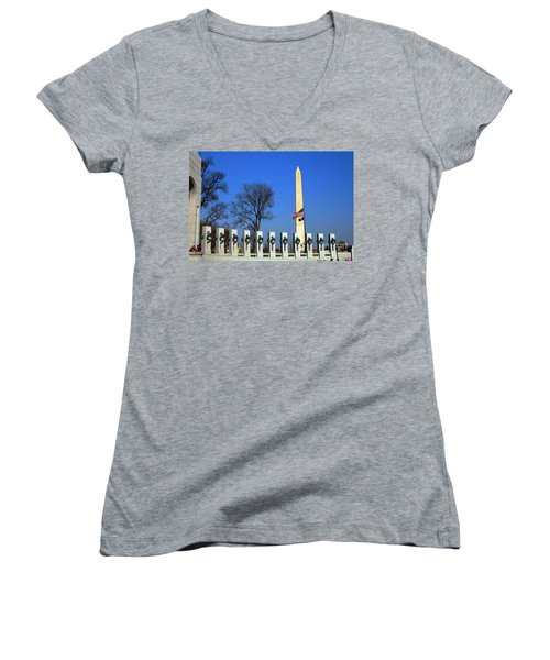 World War II Memorial And Washington Monument Women's V-Neck