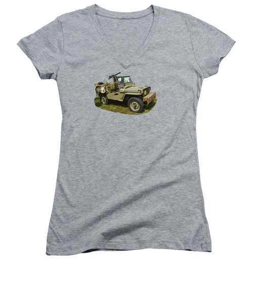 World War Two - Willys - Army Jeep  Women's V-Neck T-Shirt (Junior Cut) by Keith Webber Jr