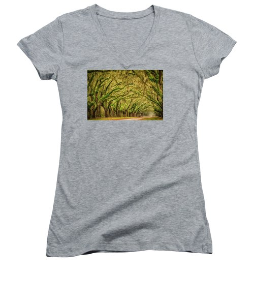 Women's V-Neck T-Shirt (Junior Cut) featuring the photograph Wormsloe Drive by Phyllis Peterson