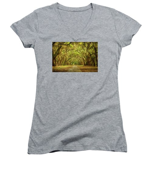 Wormsloe Plantation Oaks Women's V-Neck T-Shirt (Junior Cut) by Priscilla Burgers