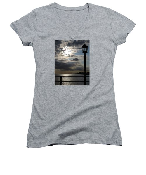 Worthing Seafront From The Pier Women's V-Neck T-Shirt (Junior Cut) by John Topman