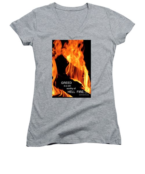 Women's V-Neck T-Shirt (Junior Cut) featuring the photograph worthy of HELL fire by Paul W Faust - Impressions of Light