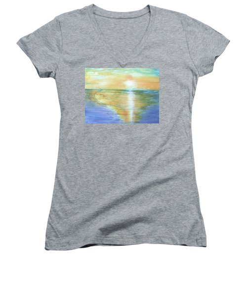 Wow Sunset Women's V-Neck T-Shirt (Junior Cut) by Debbie Lewis