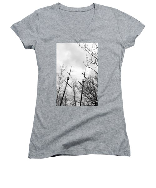 Women's V-Neck T-Shirt (Junior Cut) featuring the photograph Wrecked by Valentino Visentini