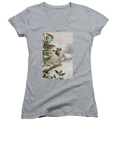 Wren In Hollybush By A Cottage Women's V-Neck T-Shirt (Junior Cut) by Carl Donner
